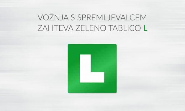 Zelena L tablica in vožnja s spremljevalcem